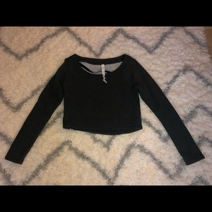 Women's dark gray cropped lululemon sweatshirt